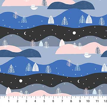 Moonlit Voyage Hills Stripe in Black Multi by Figo Fabrics