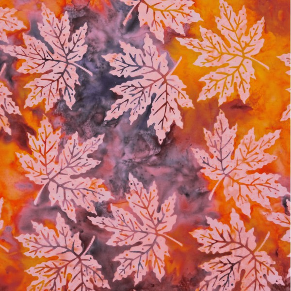 Hawaiian Gold Maple Maze Leaf Print Batik - Stitch Morgantown