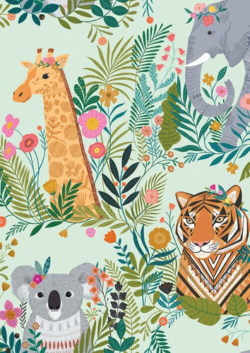 Dashwood Our Planet Menagerie Light Blue Cotton Quilting Fabric