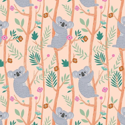 Dashwood Our Planet Koala Bamboo Cotton Quilting Fabric