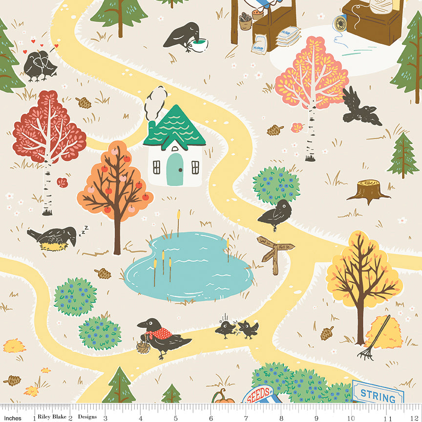 calico crow main cream with crows roads house fall trees autumn riley blake designs 100% cotton quilting fabric
