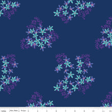 Riley Blake Club Havana Florecita Navy 100% cotton quilting fabric with blue and purple floral print