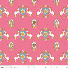 Guinevere Hot Pink Unicorn Crest  Fabric - Stitch Morgantown