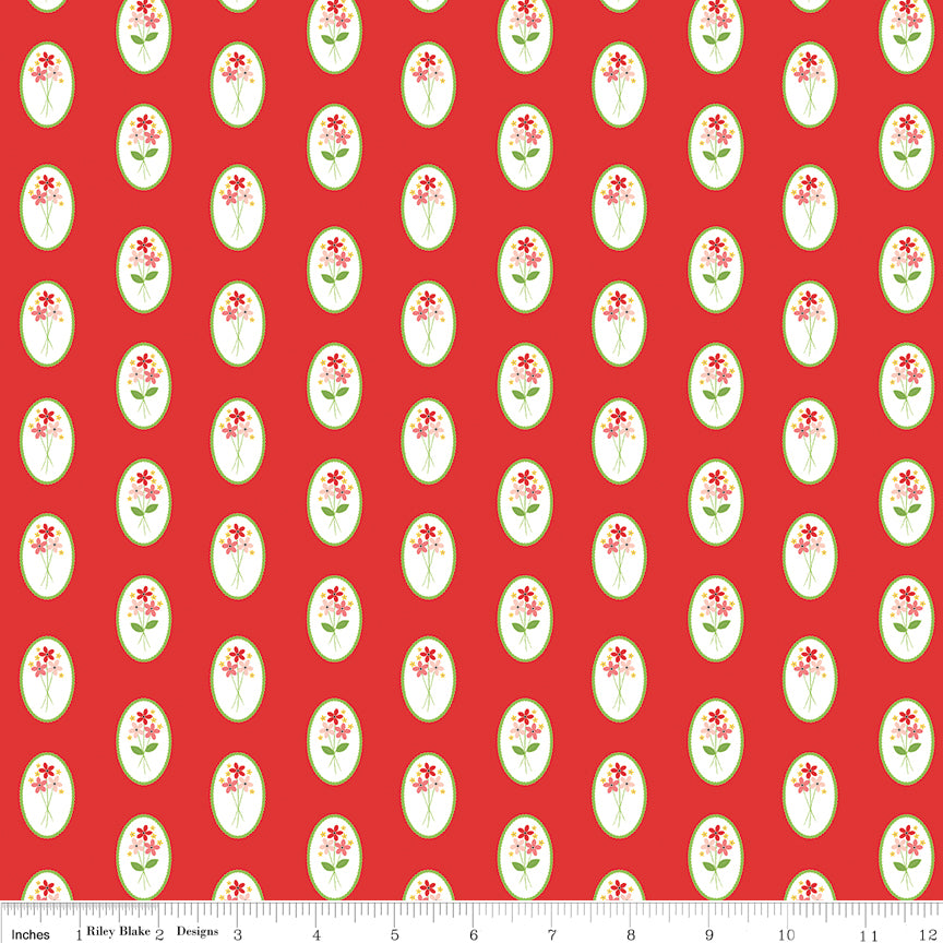 Riley Blake Vintage Adventure 100% cotton quilting fabric red with white cameo with flowers inside