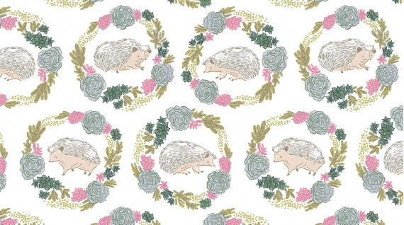 Hedgehogs White Fabric - Stitch Morgantown