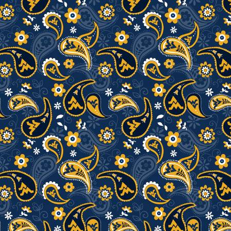 West Virginia Mountaineers Paisley quilting fabric
