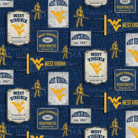 WVU Pennant Fabric Mountaineer Cotton Fabric