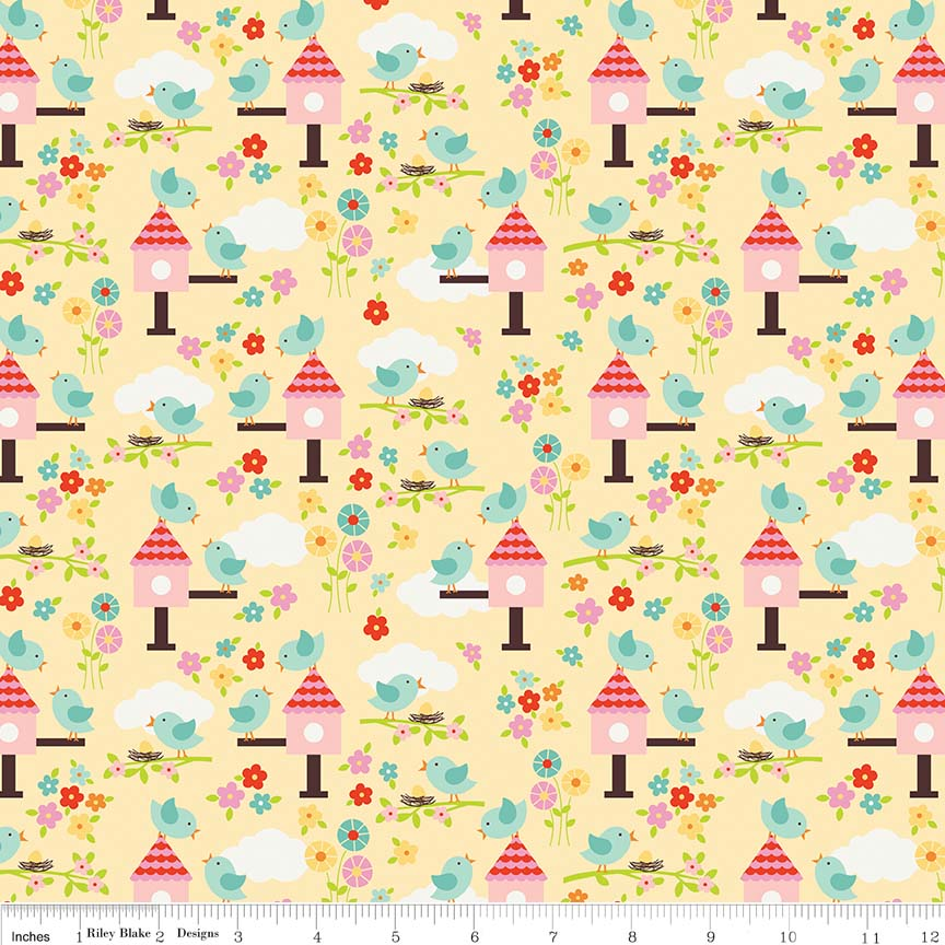 Yellow Bloom Birds Fabric - Stitch Morgantown