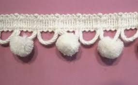 Cotton Ball Pom Pom Fringe 1-3/8 inch White