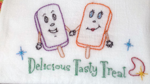 Delicious Tasty Treat Hand Embroidered Flour Sack Towel - Stitch Morgantown