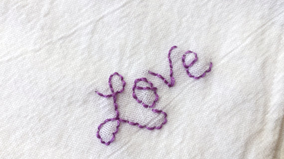Love Hand Embroidered Handkerchief - Stitch Morgantown