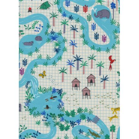 Lagoon Map Natural Fabric