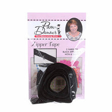 Black Reversible Zipper Tape, 3 yards