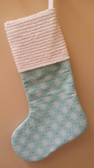 Blue Flakes and Polka Dots Stocking