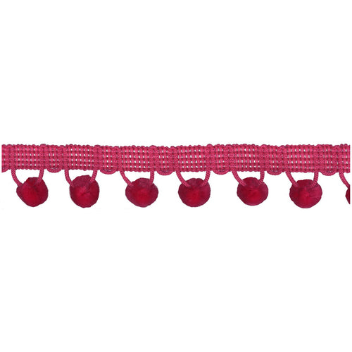 Chenille Pom Pom Trim Hot Pink - Stitch Morgantown