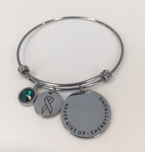 SherryStrong Ovarian Cancer Awareness Expandable Charm Bracelet