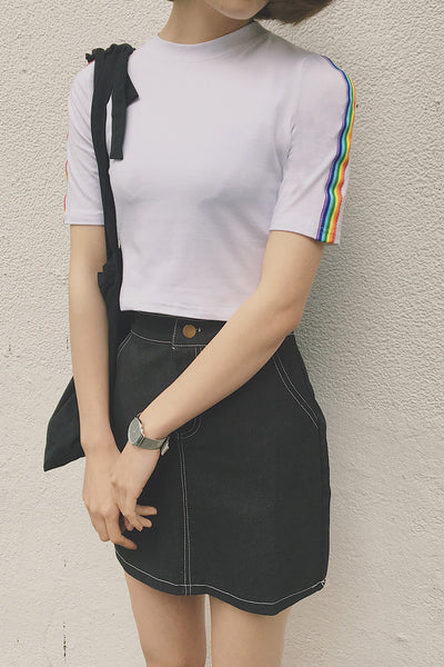 Rainbow Side-Stripe Crop Top