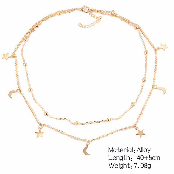Double Layer Star Moon Chain