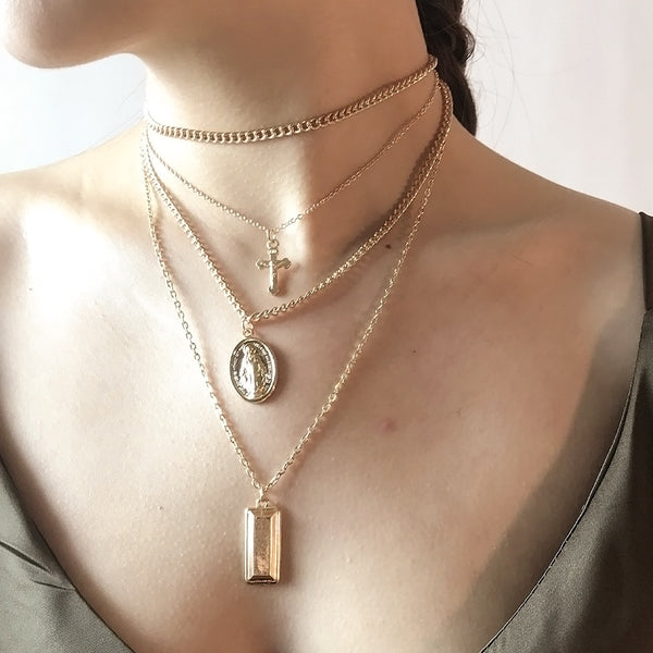Virgin Mary Layered Necklace