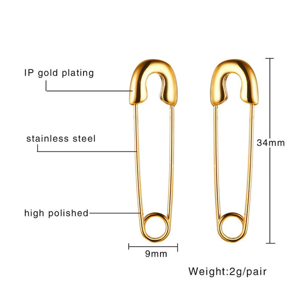Stainless Steel Safety Pin Earrings