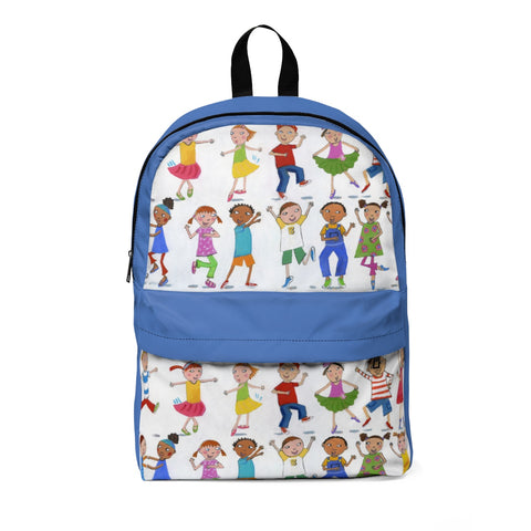 "Roxanna Baer- ""Kids Dancing"" Classic Backpack- Blue"