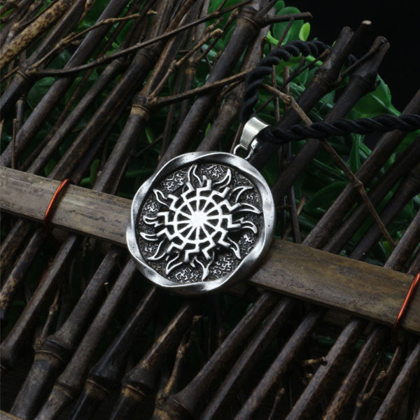 "Necklaces - Black Sun-Wheel ""Kolovrat"" Pendant"