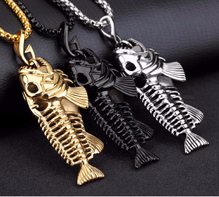 Necklaces - 'SteamPunk' Skeleton Fish Bone Charm & Necklace