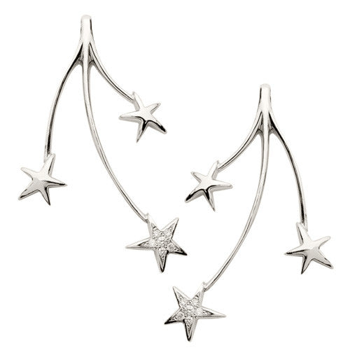 Shooting Stars Earrings with Diamond Pave