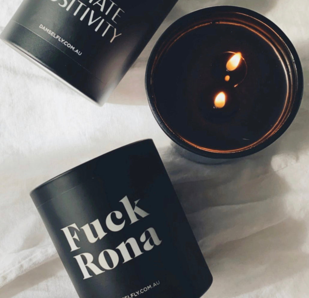 F*CK RONA - Damselfly Large Candle