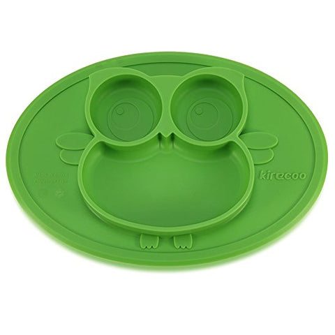 Owl Silicone Suction Feeding Plate for Kids (Green / Blue / Pink)