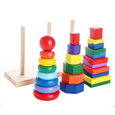 Woody Geometric Stacker | 25 pcs of Colorful Solid Wood Geometric Stacker