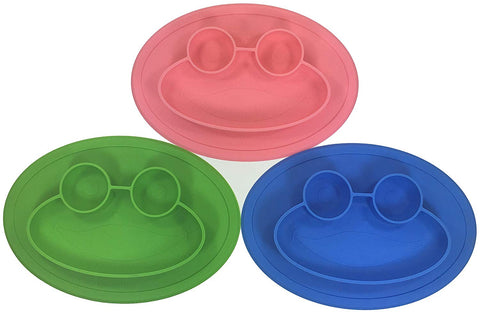 Round Silicone Frog Suction Plate for Kids with Travel Bag (Green / Blue / Pink)