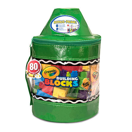 "Crayola Kids At Work 80 Piece Blocks w/ 14"" Tote - Green"