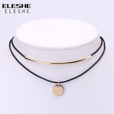 Gold-Coloured Pendant Choker Necklace
