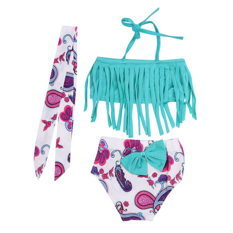 3 Pcs Swimwear Tassels Halter Top+Floral Bottom+Headband Swimsuit