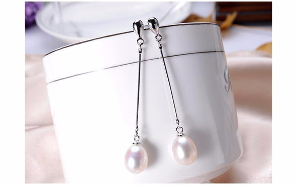 100% genuine pearl earrings for women high quality 925 sterling silver gift box Free Shipping
