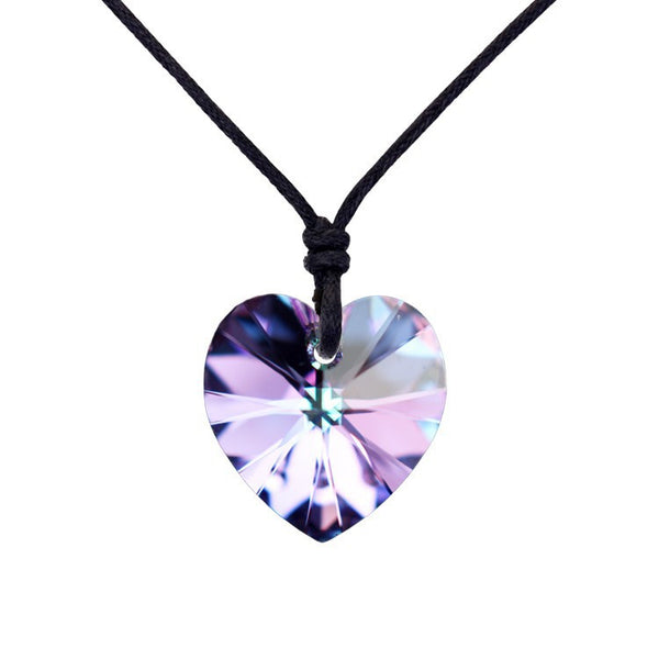 5 colors heart pendant rope necklace made with Swarovski Elements. Free Shipping
