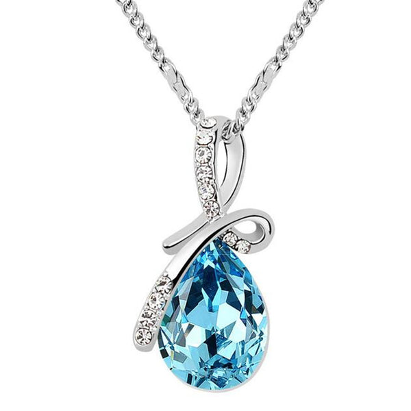 Water Drop Necklace Pendants Crystal from Swarovski Elements White Gold Plated. Free Shipping