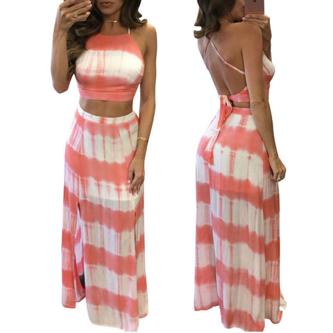 Two Piece Stripe Maxi Dress