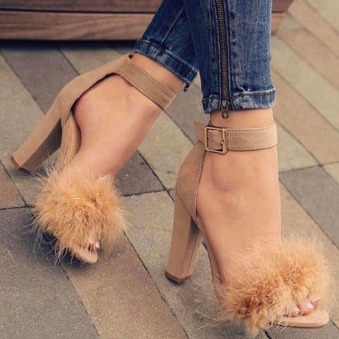 Fashion Suede Fur Heels