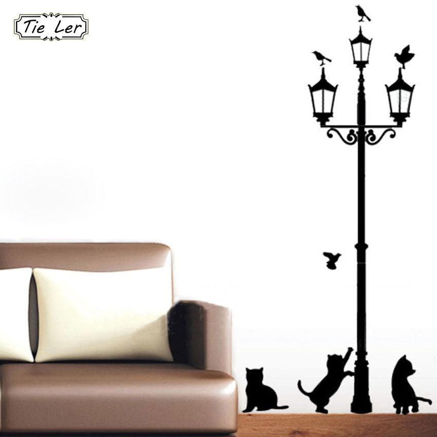 4 little cat under street lamp diy wall sticker wallpaper – loozkitty