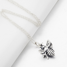Sterling Silver Bumble Bee Charm Necklace Antique Silver Vintage Pendant Necklace For Women