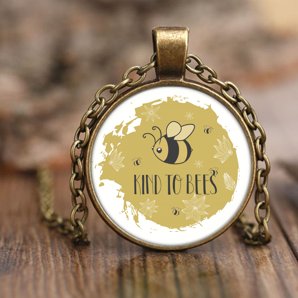 Be Kind to Bees Antique Brass or Nickel Necklaces