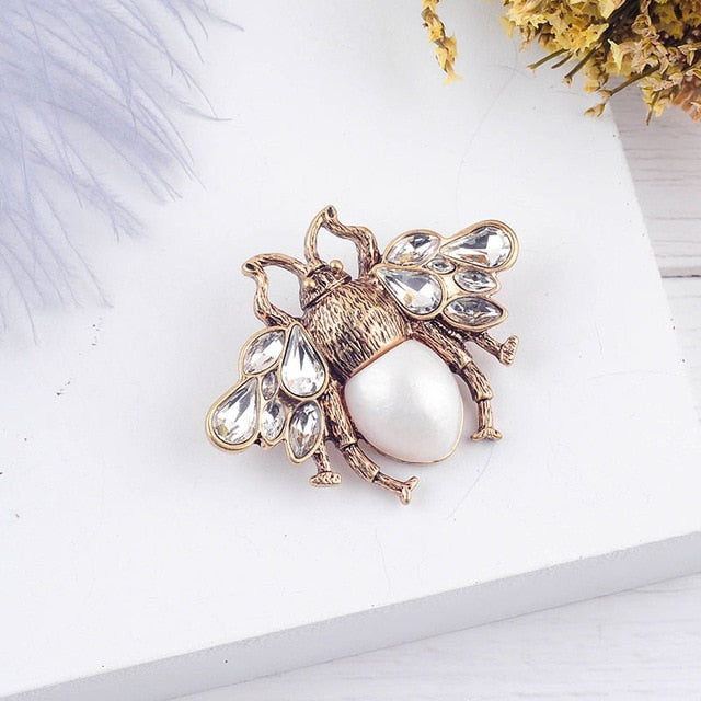 Bee Pearls Red/White Color Glass Bee Insect Brooch For Women Statement Jewelry