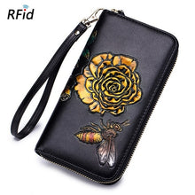 Floral Bee Painting Phone Bag Leather Women Wallet Womens