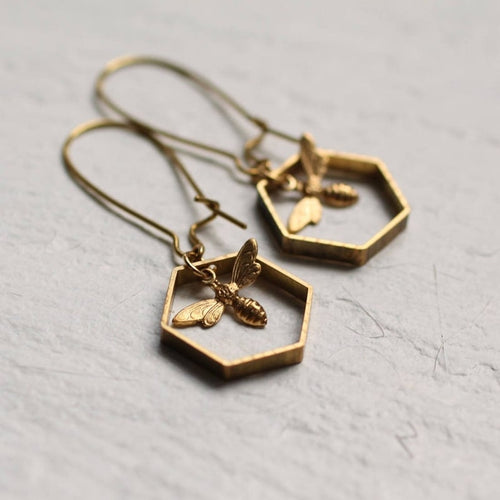 Geometric Hexagon Bee Gold Plated Pendant Earrings For Women