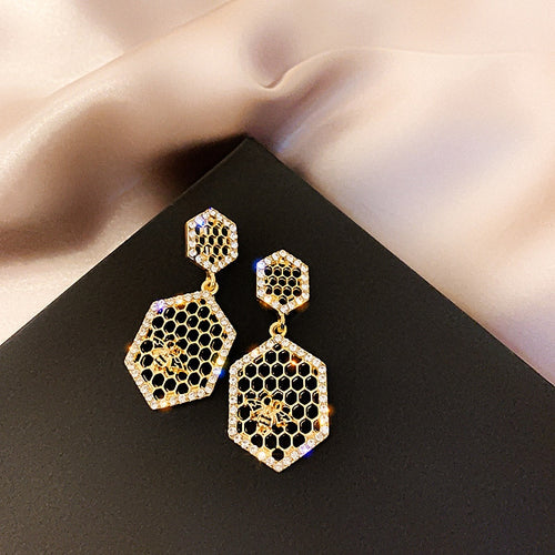 Geometric Bee Stud Earrings