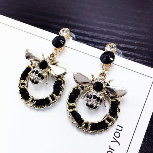 New Korean brand designer luxury jewelry flash bee earrings