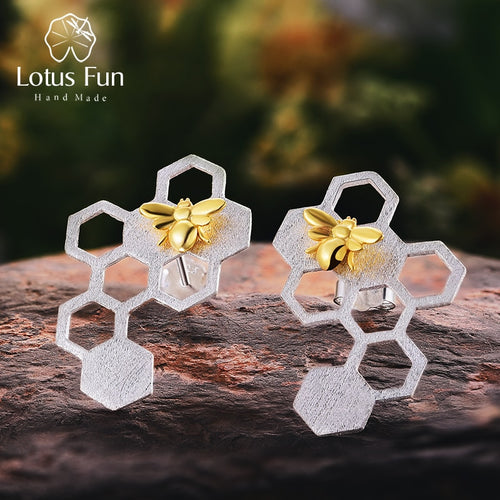 Honeycomb Silver Bee Jewellery Earrings