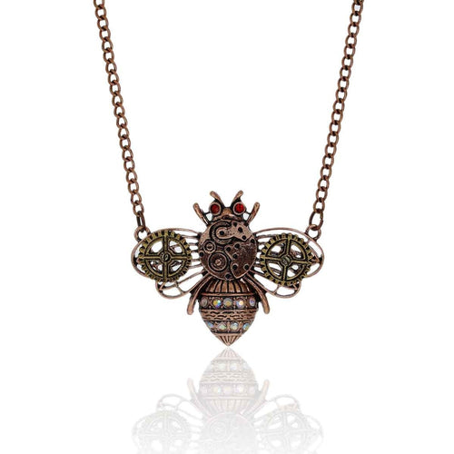 Steampunk Necklace Link Curb Chain Antique Copper Bees Gear